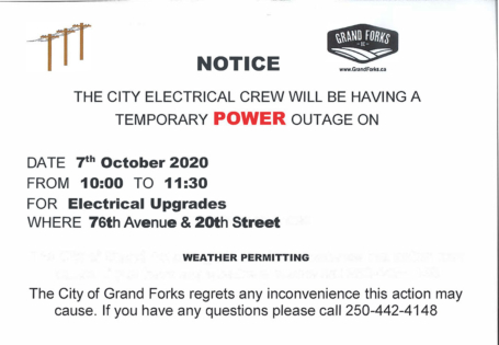 Notice: TEMPORARY POWER OUTAGE OCTOBER 7th, 2020