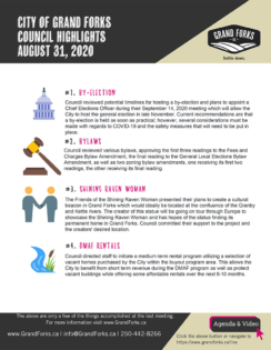 Council Meeting Highlights - August 31, 2020