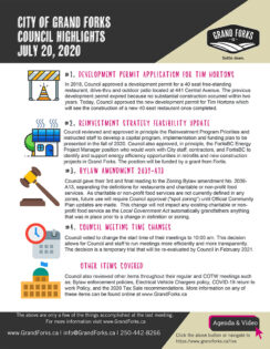 Council Meeting Highlights - July 20, 2020