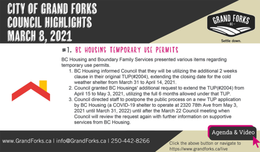 Council Meeting Highlights - March 8, 2021