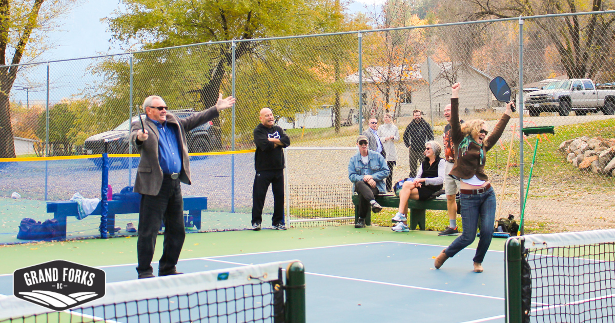 Council at the pickleball courts 1
