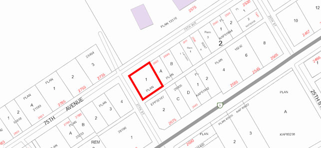 Notice of Zoning Bylaw Amendment Map - 75th Avenue